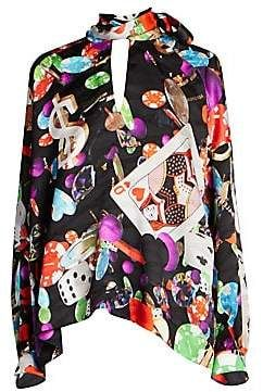 4333e8b04f268f Balenciaga Balenciaga Women s Casino Print Silk Crepe Tie-Neck Blouse