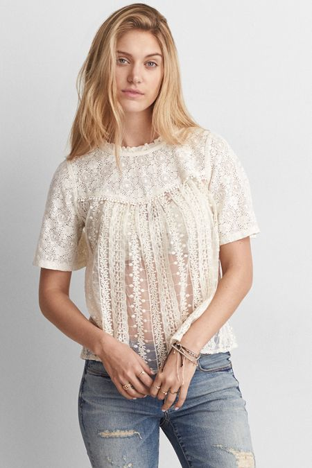 American Eagle Outfitters AE Embroidered Mesh Shirt