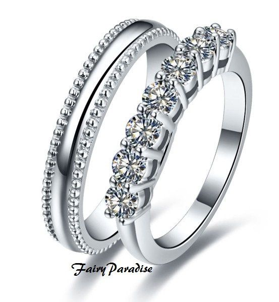 His Hers 2 Pcs 925 Silver 07 Ct Womens Engagement Ring Mens Wedding Rings Set