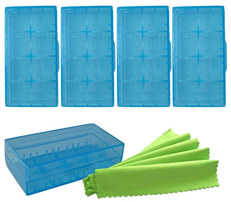 ColorYourLife 5 PCS Battery Storage Case/Organizer/Holder for 18650 or CR123A Battery with Microfiber Cloth in Retail Packaging (Blue)