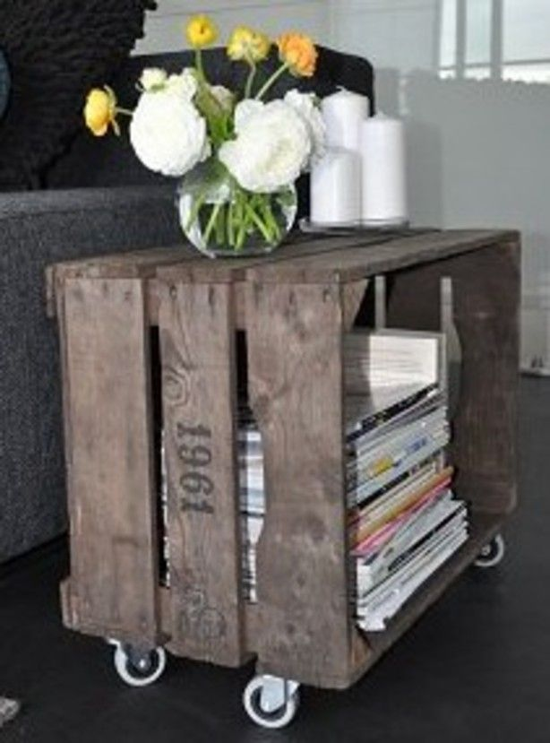 I really like this side table made out of a wooden fruit basket.