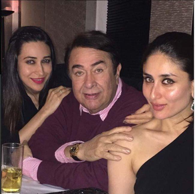 Randhir Kapoor with daughters Karishma and Kareena Kapoor