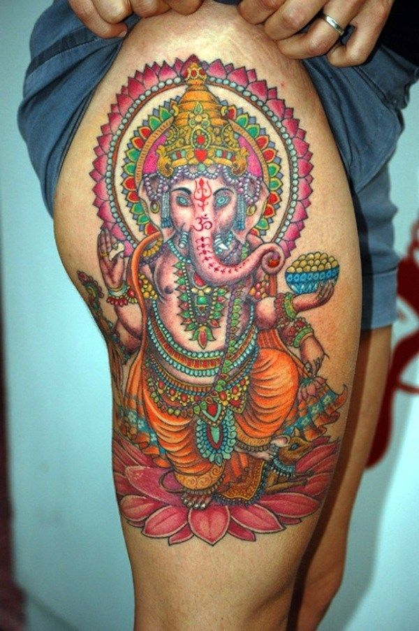 ganesha tattoo on theigh