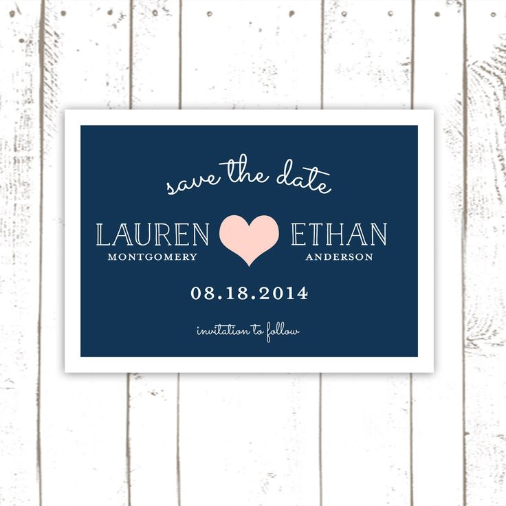 Heart Save The Date, Save The Dates in Pink and Navy Blue, Modern Save The Date Cards by MooseberryPaperCo on Etsy https://www.etsy.com/listing/187948595/heart-save-the-date-save-the-dates-in
