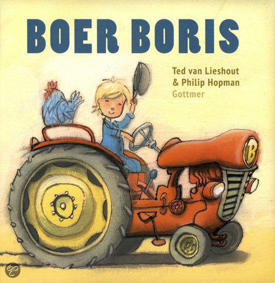 Ted van Lieshout - Boer Boris || Gottmer 2012, 24 pagina's || Prentenboek top 10 voor De Nationale Voorleesdagen 2014 || Boer Boris heeft een boerderij. Daar hoort 1 grote tractor bij. Daar rijdt hij mee over zijn land. Zie je de sporen in het zand? Boer Boris heeft een boerderij. Daar horen ook 2 schuren bij. In de ene wordt het graan bewaard. In de andere staat Knol, het paard. Welk kind zou er nou niet Boer Boris willen zijn? || http://www.bol.com/nl/p/boer-boris/9200000005426756/