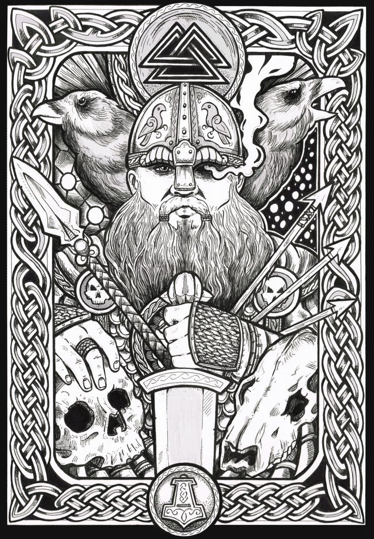 Happy wednesday gl delig onsdag odin and his for Norse mythology coloring pages