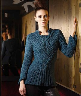 Love this sweater.  Pattern available for sale but I haven't drilled down to it yet