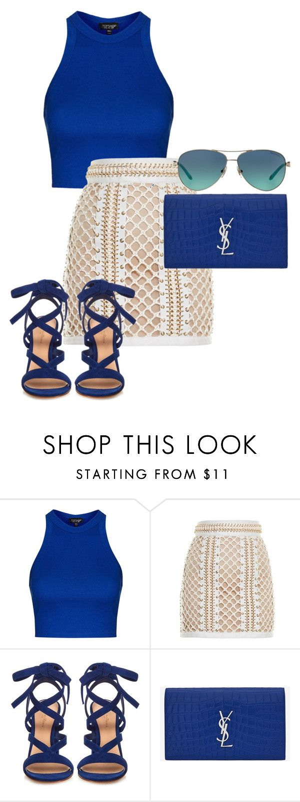 """Untitled #270"" by minnie300056 on Polyvore featuring Topshop, Balmain, Gianvito Rossi, Yves Saint Laurent, Tiffany & Co., women's clothing, women, female, woman and misses"
