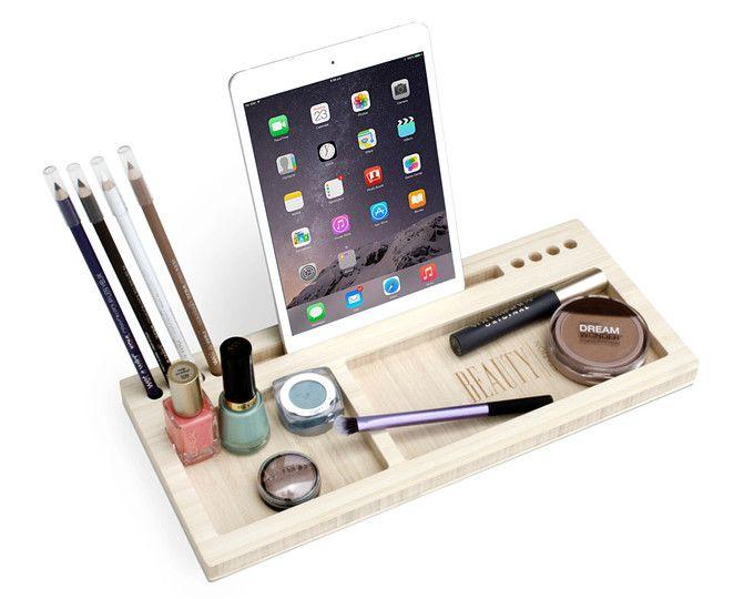 Stazione di bellezza Madison   Quotidiano make-up Organizer - regalo per lei - bambù trucco Pennello Eyeliner matita Blush Holder iPad Dock - spedizione veloce