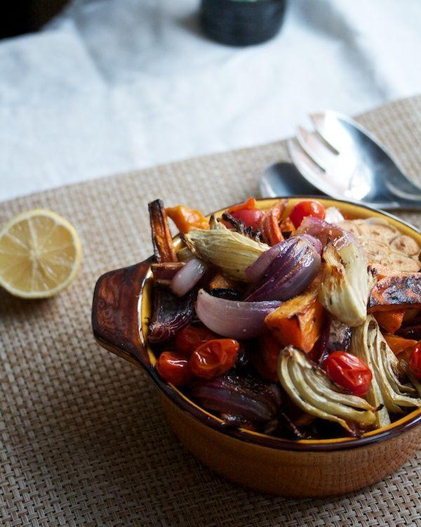 Roasted veggies with pomegranate vinaigrette.
