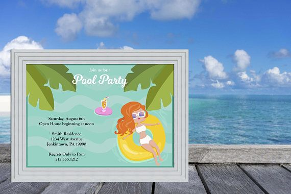 Tropical Girl Swimming Pool Deck / Pool Party Invitation Cards