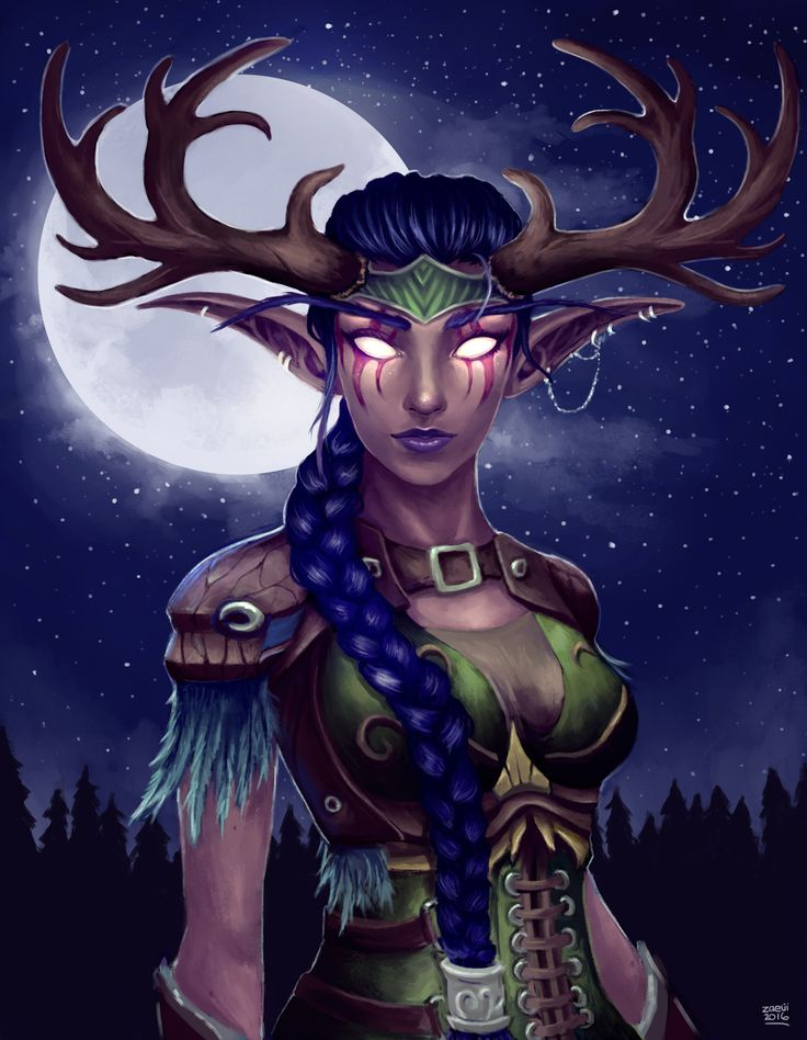 Night Elf Druid, Sammy Hancock on ArtStation at https://www.artstation.com/artwork/85PVn