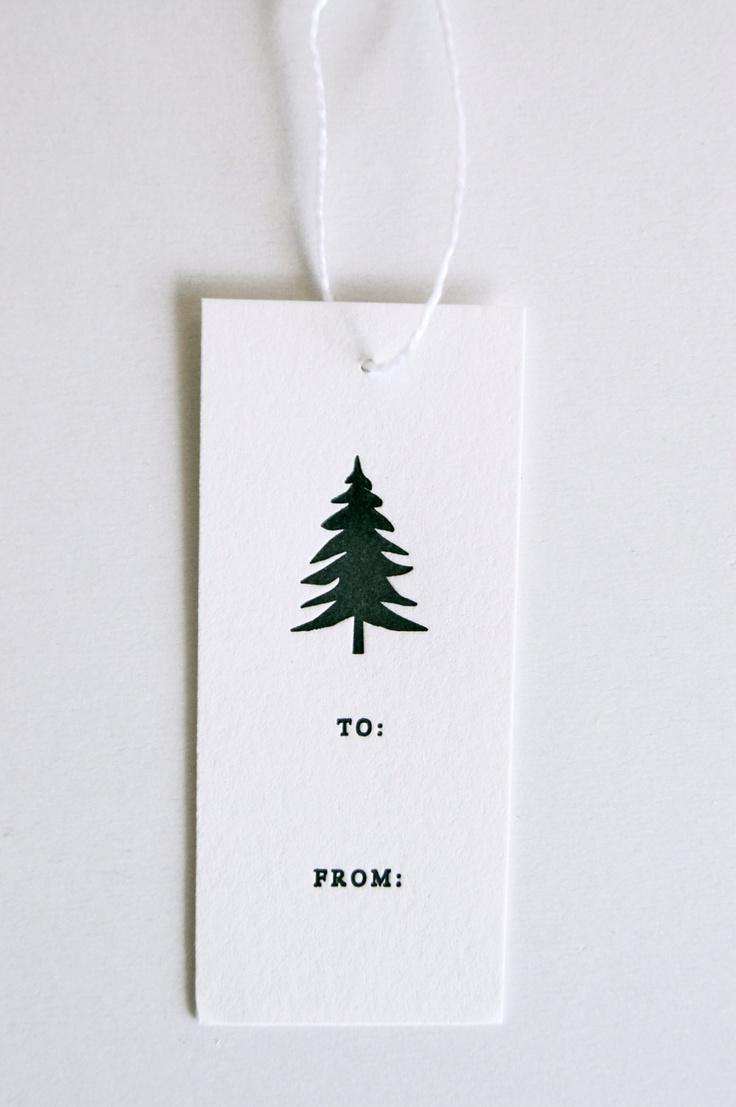 evergreen letterpress gift tags
