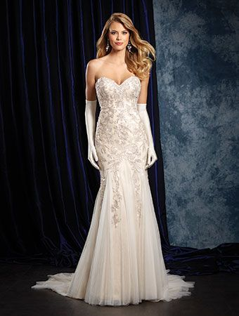 Alfred Angelo Style 957: fit and flare embroidered wedding dress with soft skirt accents