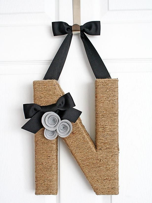 DIY Jute-Covered Monogram. This is a really fun craft. See how to make it: http://www.hgtv.com/handmade/jute-covered-monogram-wreath/index.html?soc=pinterest