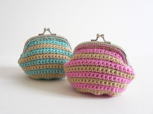 The crochet pattern for this striped coin purse is available through Ravelry. It's also sold as a kit.