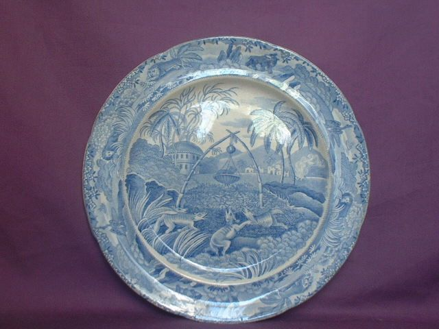 Indian Sporting Series 'Common Wolf Trap''.Late Spode C&G Blue Transfer C.1833 #DinnerPlates