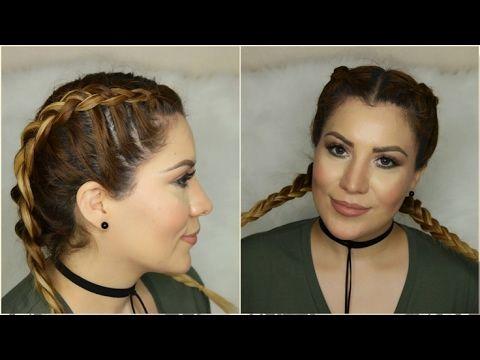 trenza holandesa,trenza de boxeadora, tranca holandesa tutorial de trenza double dutch braid boxer braids  kim k inspired -tutorial  YouTube