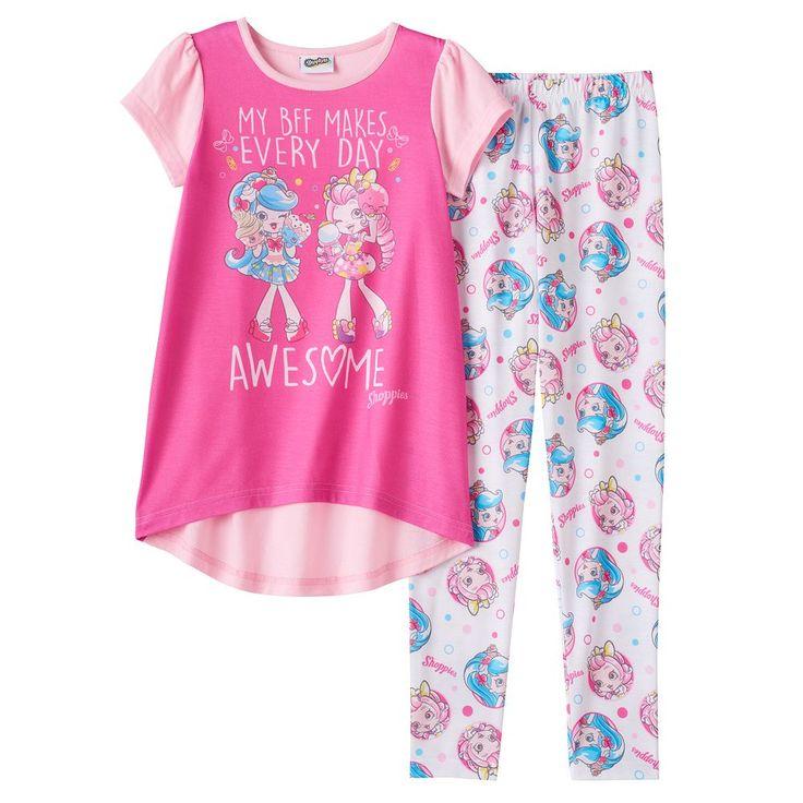 Girls 6-12 Shopkins Shoppies Jessicake & Bubbleisha Tunic & Bottoms Pajama Set, Size: 10, Pink