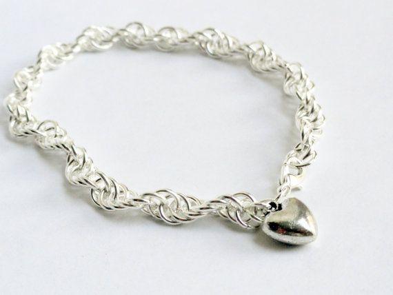 Chainmaille silver bracelet spiral pattern  by handmadeintoronto, $27.00