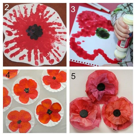 Making poppies for remembrance day