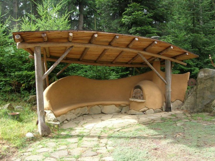 Charming yard: cob bench and oven