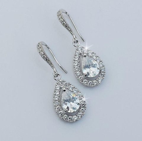 """JESS Collection White Gold CZ Bridal Earrings Gorgeous Earrings are made with sparkling cubic zirconia crystals in white gold plated settings Earrings measure about 1 3/8"""" long Available in yellow gol"""