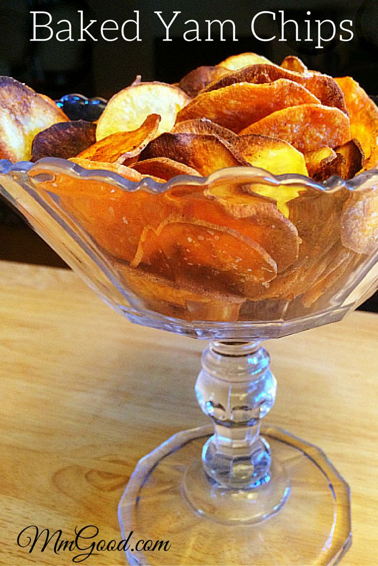 Here is a great alternative to fried potato chips...baked yam chips!  I love this recipe as it's super easy to make, it's healthy and it tastes great!!!  You can play around with seasonings and oils to change this recipe to make it your own. | www.MmGood.com