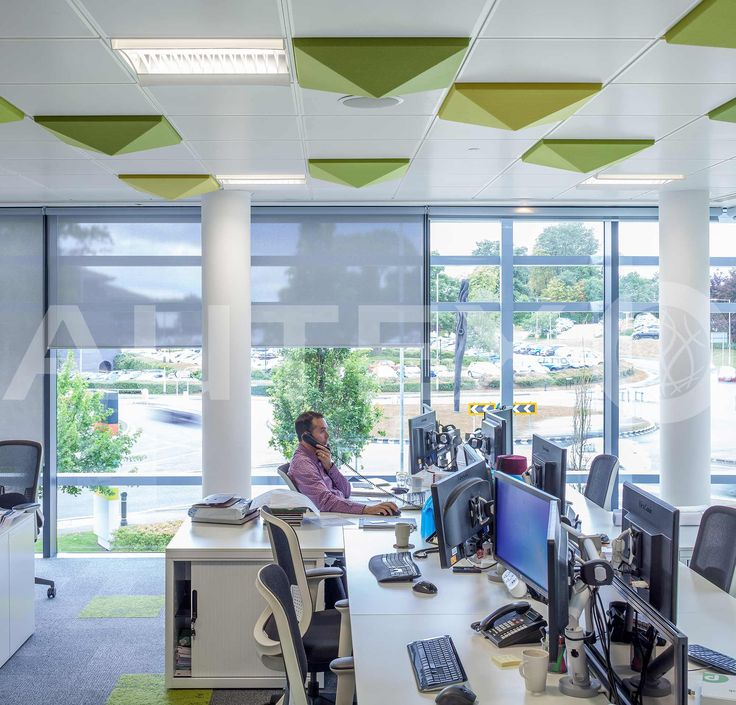 Autex Interior Acoustics - Quietspace® 3D Ceiling Tiles - Morgan Lovell, UK - S-5.37 colour  Lime and Wasabi - Direct fix to ceiling