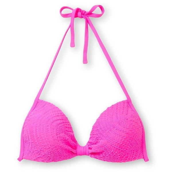 Empyre Girls Variant Hot Pink Crochet Molded Cup Bikini Top ($25) ❤ liked on Polyvore featuring swimwear, beach, bikinis and swim