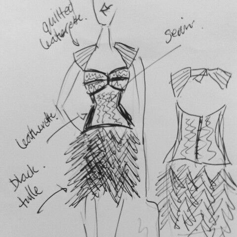 Evening wear design, sequin corset with fluffy mesh skirt