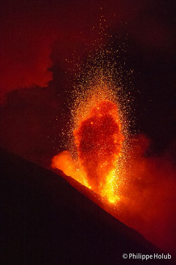 Stromboli Volcano off the north coast of Sicily, Italy. It has been in almost one continuous eruption for the past 2,000 years.