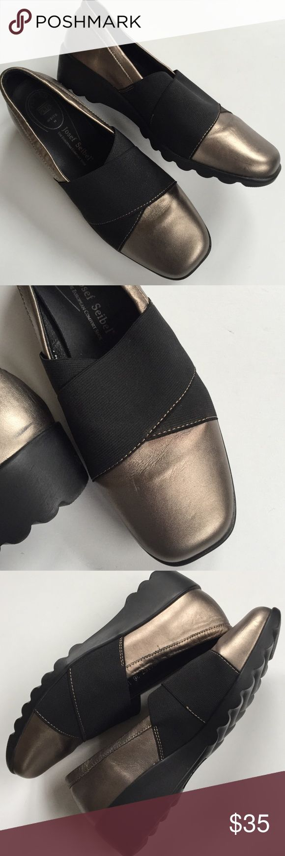 EUC Josef Seibel leather shoes Excellent condition; Beautiful and oh so comfy! Soft gold tone leather with black wide elastic on top of foot. This brand is known for high quality, comfortable footwear. Smoke-free/pet-free home. Josef Seibel Shoes