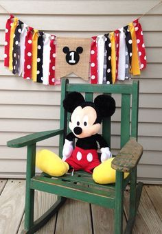 Birthday Banner ~Mickey Mouse High Chair banner ~Mickey theme ~Burlap Banner…