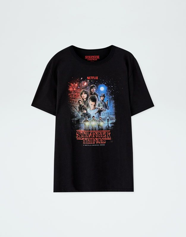 salida de fábrica precio oficial venta caliente barato Camiseta Netflix Stranger Things personajes - PULL&BEAR ...