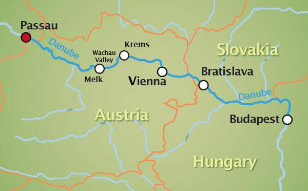 Map: Passau, Germany to Budapest, Hungary via the Danube River.