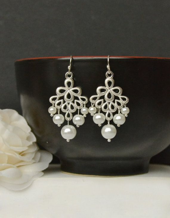 Pearl bridal earrings bridal chandelier by ArtemisBridalJewelry