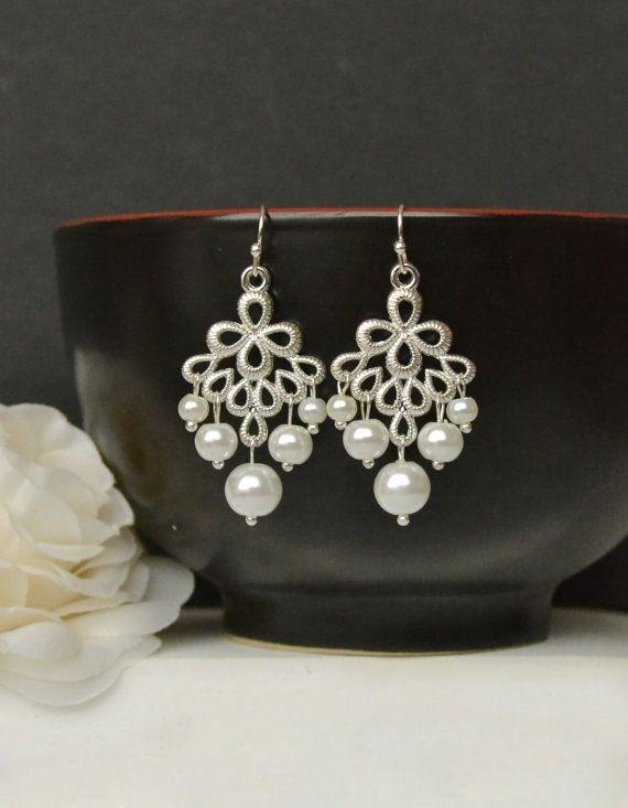 Pearl bridal earrings bridal chandelier by ArtemisBridalJewelry