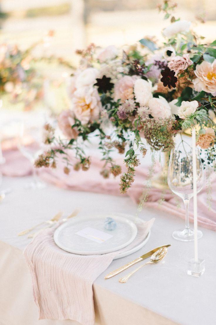 Soft blush wedding tablescape