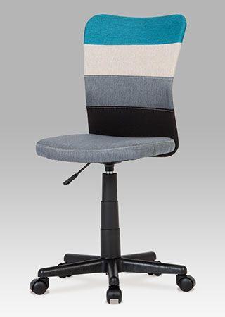 KA-N837 Kancelářská židle látková, barvy v přírodním tónu doplněné o akcent modré barvy na opěráku. Výškově nastavitelná. Nosnost 60 kg.