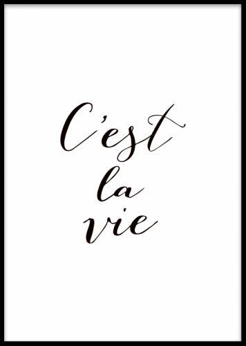 Affisch med fransk text, quote i svartvitt.