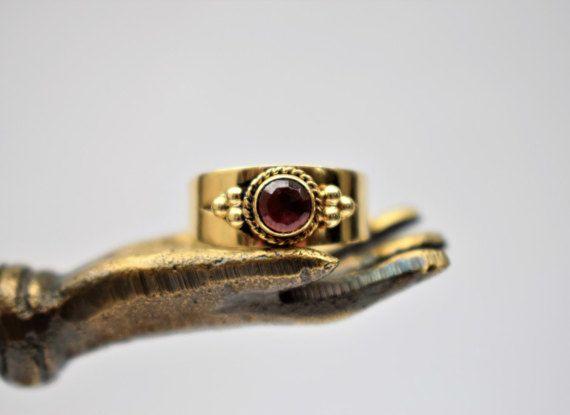 Vintage Garnet Ring Vintage Bohemian Garnet by PrettyDifferentShop