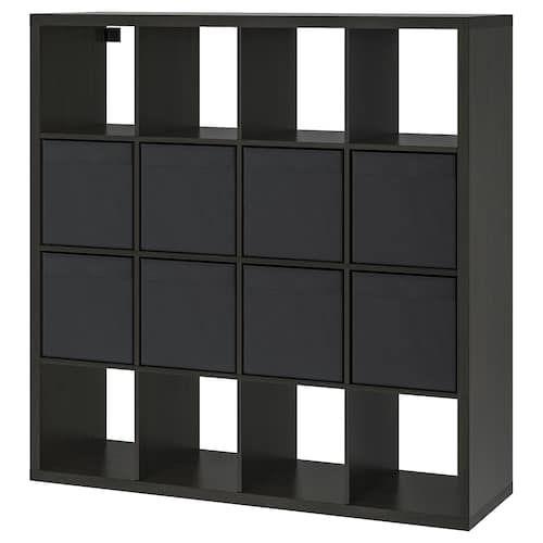Kallax Etagere Avec 4 Accessoires Effet Chene Blanchi 147x147 Cm Kallax Ikea Etagere Ikea