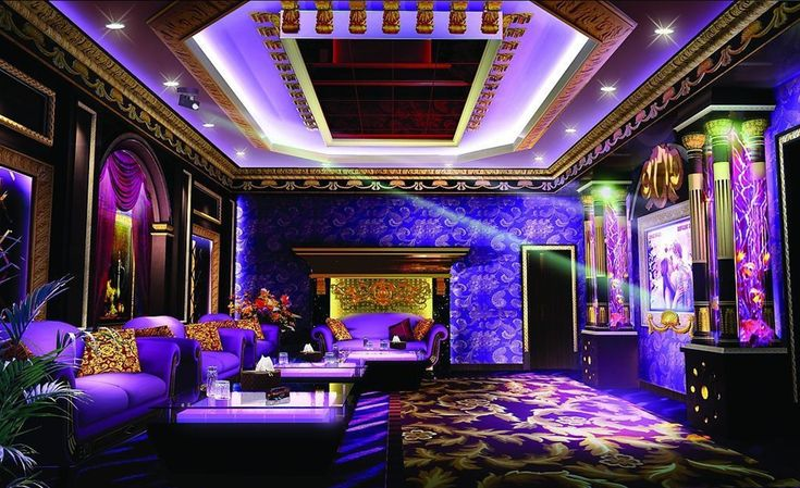 Purple ktv room interior design night rendering living for Living room karaoke