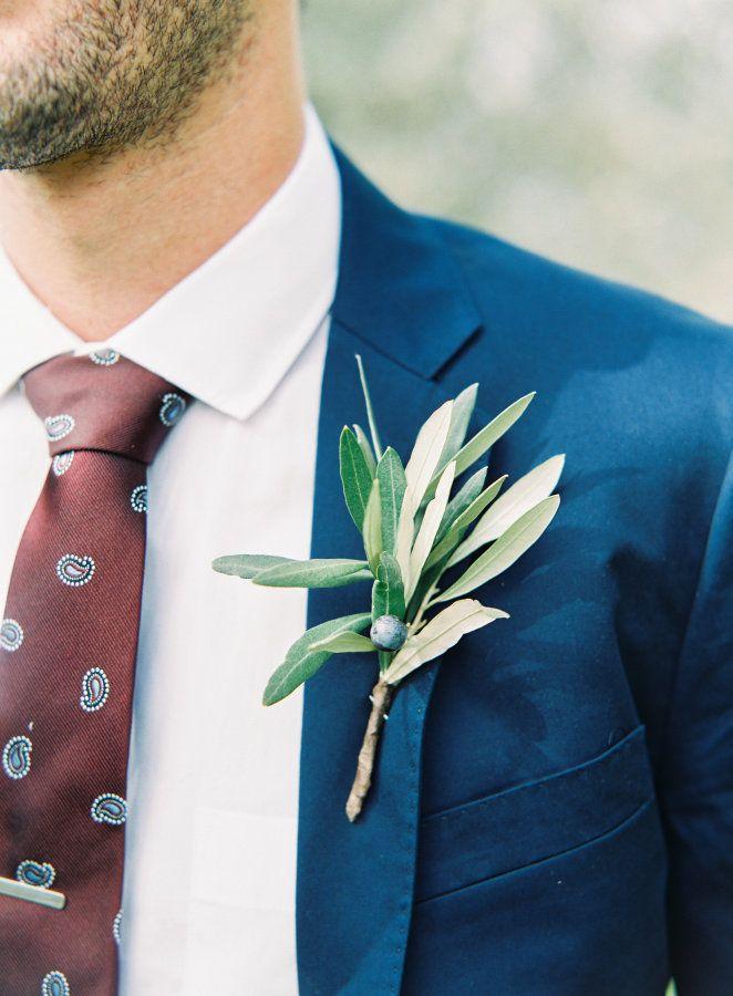 Greenery olive branch boutonniere: http://www.stylemepretty.com/2017/04/04/villa-petrolo-tuscany-wedding/ Photography: Kristina Adams - http://www.kristinaadamsphotography.com/