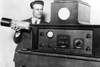 Farnsworth developed the first vacuum tube for shooting television, an idea he conceived at the age of 14 years. He was the first inventor to transmit a television image comprised of 60 horizontal lines. The image transmitted was a dollar sign. Farnsworth developed the dissector tube, the basis of all current electronic televisions. He filed for his first television patent in 1927. This invention was used in all televisions and other types of displays until the late twentieth century.