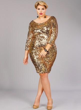 Plus size sequin dresses in gold