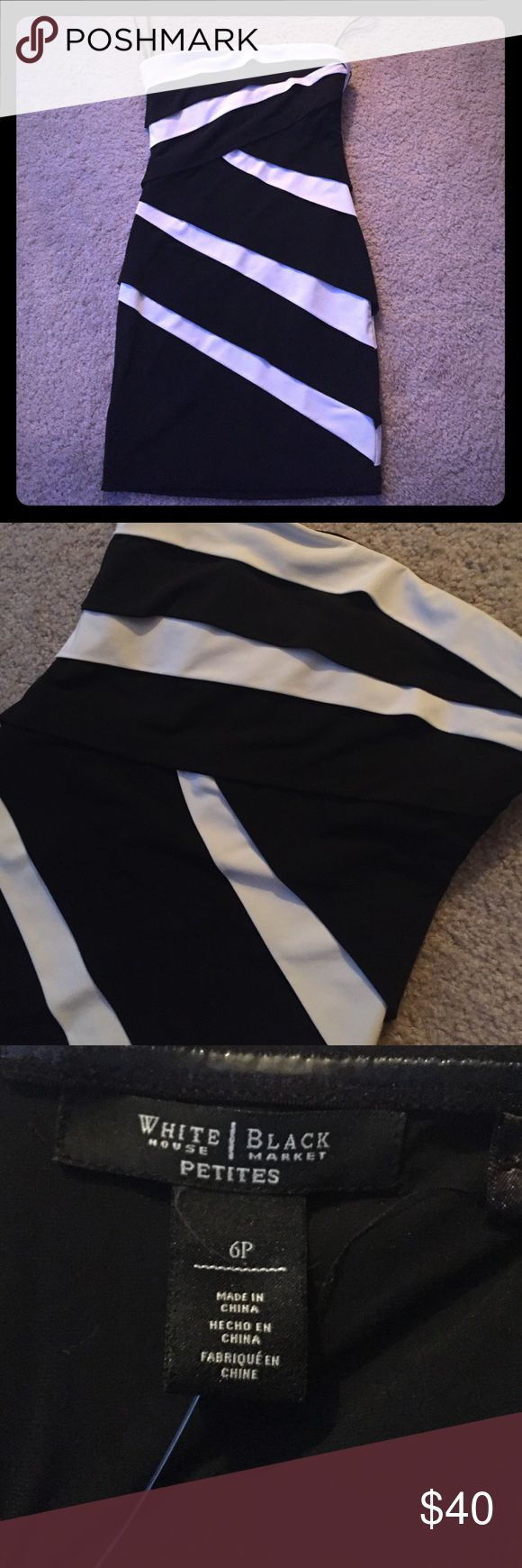 White House Black Market bodycon strapless dress Black and white bodycon dress from WHBM. Elastic lining. NWOT, NEVER WORN besides being tried on. Super hot going-out dress!  White House Black Market Dresses Strapless