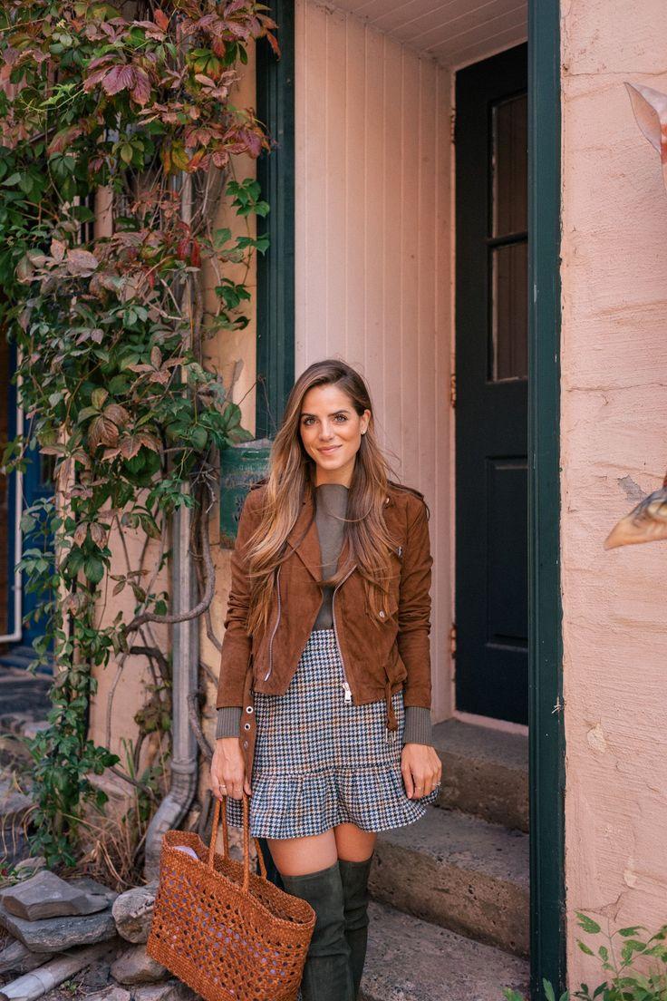 Gal Meets Glam Ruffled Plaid Mini Skirt - Polo Ralph Lauren jacket c/o, Vince sweater, J.Crew skirt, Tory Burch boots, & Dragon Diffusion tote