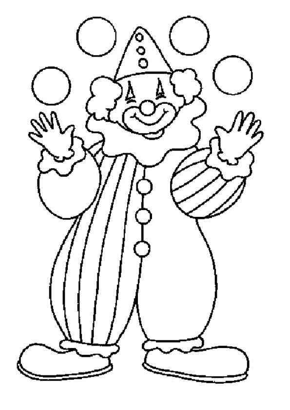 Un gentil clown qui jongle avec des boules, à colorier.
